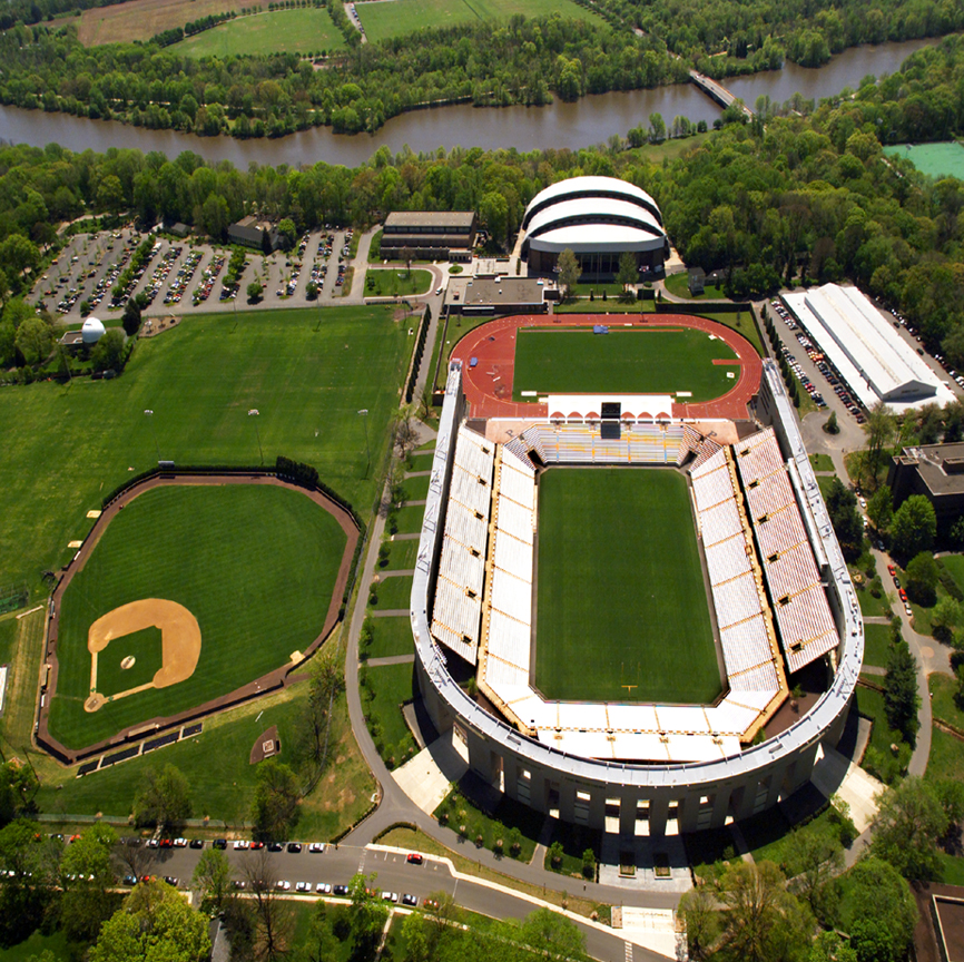 Aerial photograph of stadium.