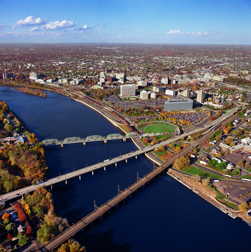 Aerial photograph of bridge and city