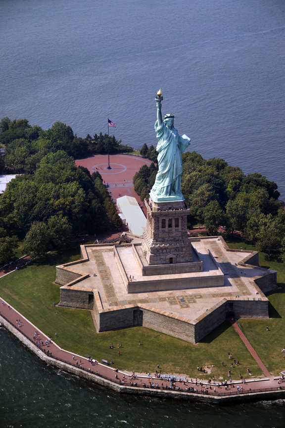 Aerial photograph of Statue of Liberty on Liberty Island.
